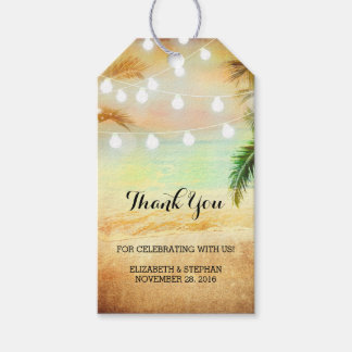 Beach Sunset String Lights Palms Wedding Thank You
