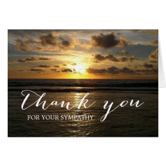 Beach Sunset Sympathy Memorial Thank You Note Card