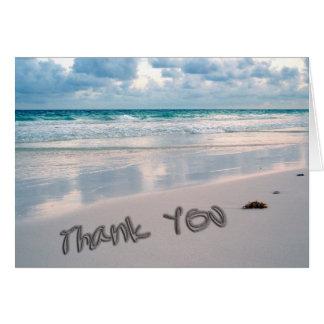 Beach Sunset Thank You Sand Writing Greeting Card