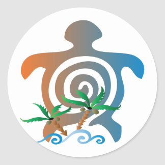 Beach-sunset-turtle Classic Round Sticker