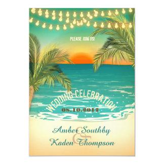 Beach Sunset Wedding Card