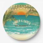 Beach Sunset Wedding Custom Paper Plates