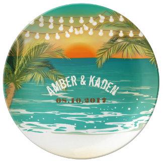 Beach Sunset Wedding Porcelain Plate