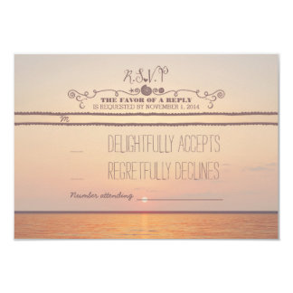beach sunset wedding RSVP card 9 Cm X 13 Cm Invitation Card