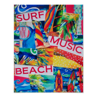 Beach & Surf Collage Poster