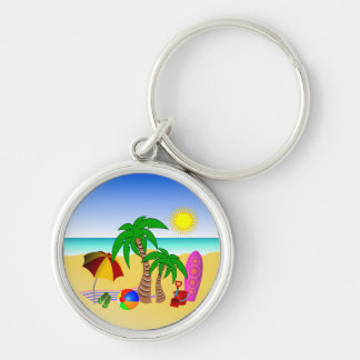 Beach Surf Fun Colorful Premium Round Key Rings Silver-Colored Round Key Ring