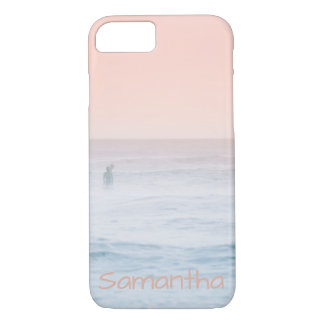 Beach surf in pinks and blue Personalize iPhone 8/7 Case