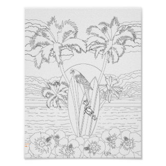 Beach Surfboards Adult Coloring Poster