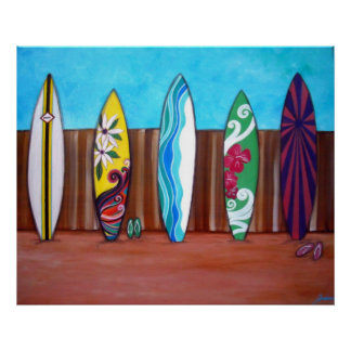 BEACH SURFBOARDS POSTERS