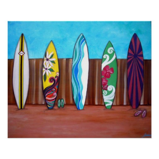 BEACH SURFBOARDS POSTERS PRINT
