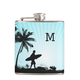 Beach Surfer custom monogram flask