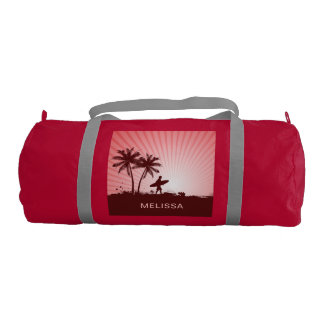 Beach Surfer custom name gym bags