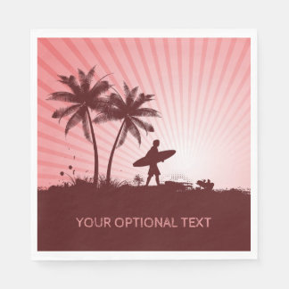 Beach Surfer custom text paper napkins