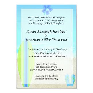 "Beach Surfer Wedding Invitations 5"" X 7"" Invitation Card"