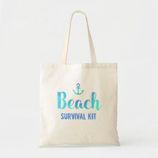 Beach Survival Kit Watercolor Anchor Tote Bag