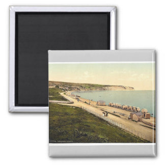 Beach, Swanage, England rare Photochrom Square Magnet