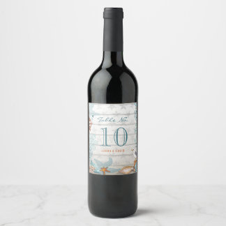 Beach Table number | Custom Wine Label