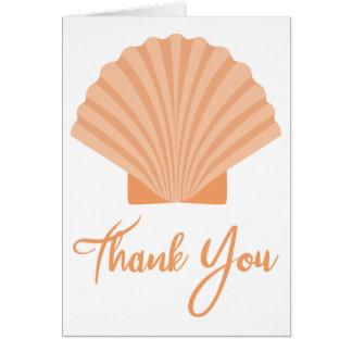 Beach Thank You Orange Seashell Nautical Card