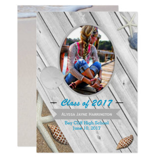 Beach Theme Photo Graduation Announcement Card