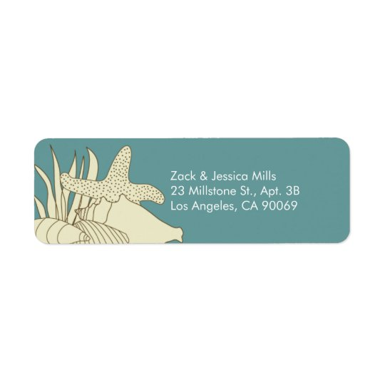 Beach Theme Return Address Labels - Creme & Blue