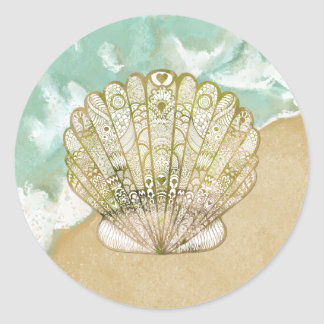 Beach Theme Scallop Shell Wedding Stickers