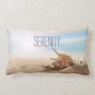 Beach Theme Sea Shells Sand Sky Customizable Lumbar Pillow