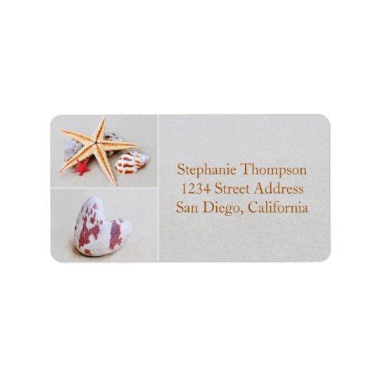 Beach Theme Starfish and Heart Address Label
