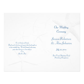 Beach Theme Starfish Wedding Program 21.5 Cm X 28 Cm Flyer