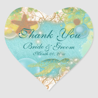 "Beach theme ""thank you"" wedding birthday sticker"