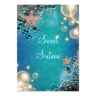 "Beach theme wedding birthday party 5"" x 7"" invitation card"