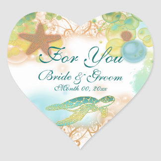 "Beach theme wedding favor ""For you"" Heart Sticker"