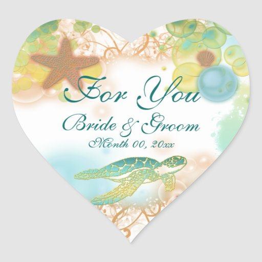 "Beach theme wedding favor ""For you"" Stickers"