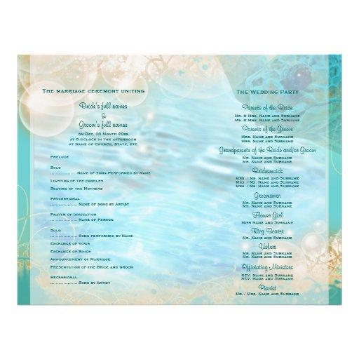 "Beach theme ""wedding program"" turtle flyer design"
