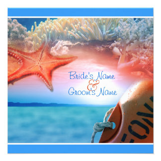 Beach theme wedding tropical cruise custom invites