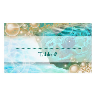"Beach theme wedding turtle ""table number"" business cards"