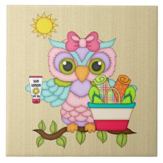 Beach Themed cartoon owl tile