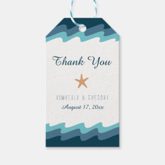 Beach Themed Favor Tags - Blue Wave Border