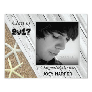 Beach Themed Guy Graduation Photo Invitation
