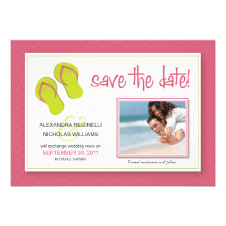 Beach-Themed Save the Date Announcement (pink)