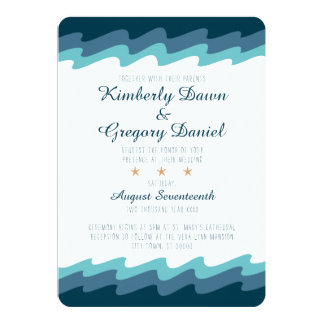 Beach Themed Wedding Invitation - Blue Wave