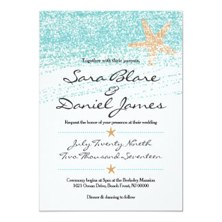 Beach Themed Wedding Invitation w/ Starfish Accent