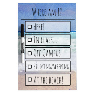 Beach Themed Where Am I? Dry Erase Board