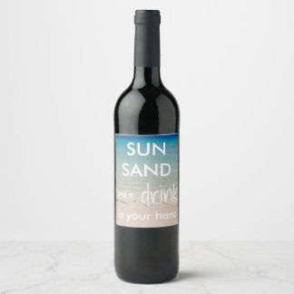Beach Themed Wine Bottle Labels with Quote
