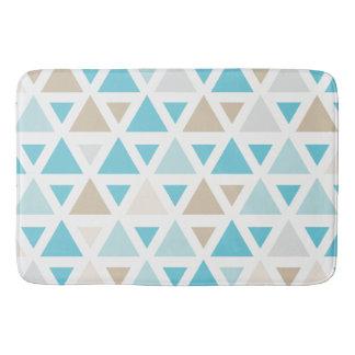 Beach tone trendy triangle pattern, aqua tan bath mat