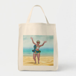 Beach Tote Bag with Funny Bathing Beauty