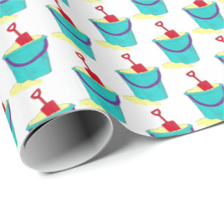 Beach Toys Sand Bucket Pail Shovel Summer Vacation Wrapping Paper
