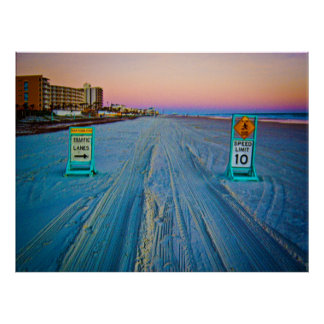 Beach Traffic Signs on Daytona Beach at Dawn