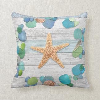 Beach Treasures Glass, Shells, Driftwood Throw Cushion