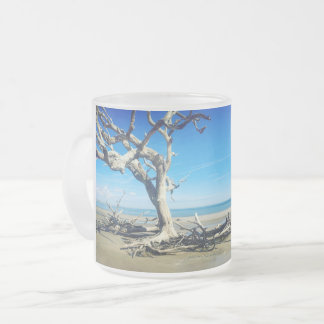 Beach trees and Bicycle Frosted Glass Coffee Mug
