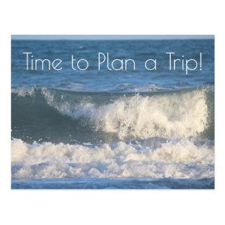 Beach Trip Planning Photo of Crashing Ocean Waves Postcard